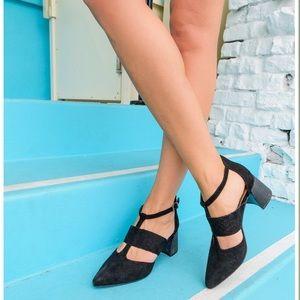 """Mi.iM """"Paige"""" Black Strappy Heels"""